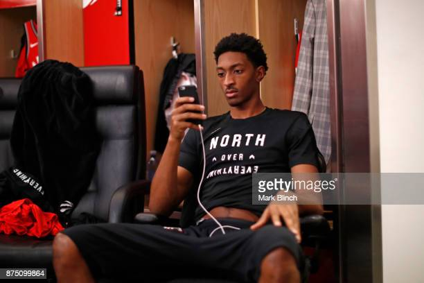 Malcolm Miller of the Toronto Raptors is seen in the locker room before the game against the Chicago Bulls on October 19 2017 at the Air Canada...