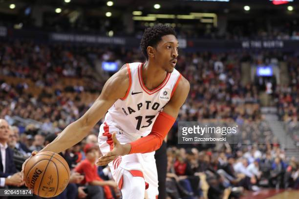 Malcolm Miller of the Toronto Raptors makes an underhanded pass against the Detroit Pistons at Air Canada Centre on February 26 2018 in Toronto...