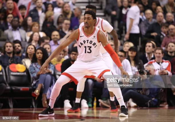 Malcolm Miller of the Toronto Raptors plays defense against the Detroit Pistons at Air Canada Centre on February 26 2018 in Toronto Canada NOTE TO...