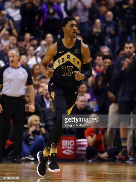 Malcolm Miller of the Toronto Raptors runs up court during the first half of an NBA game against the Houston Rockets at Air Canada Centre on March 9...