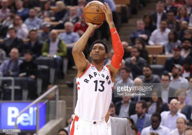 Malcolm Miller of the Toronto Raptors shoots against the Detroit Pistons at Air Canada Centre on February 26 2018 in Toronto Canada NOTE TO USER User...