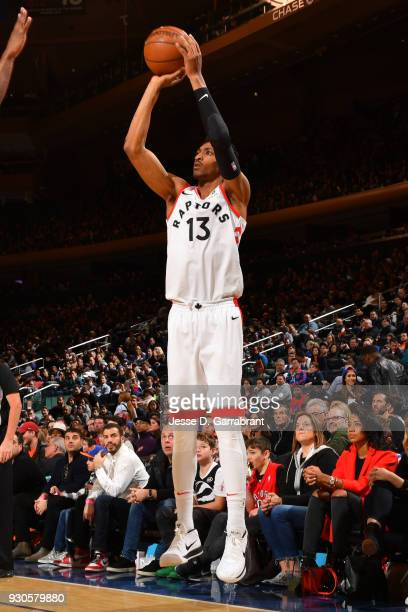 Malcolm Miller of the Toronto Raptors shoots the ball during the game against the New York Knicks on March 11 2018 at Madison Square Garden in New...
