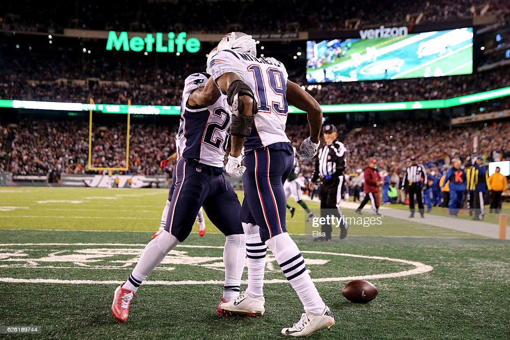 Malcolm Mitchell #19 of the New England Patriots celenrates after scoring a touchdown against the New York Jets during the fourth quarter in the game at MetLife Stadium on November 27, 2016 in East Rutherford, New Jersey.