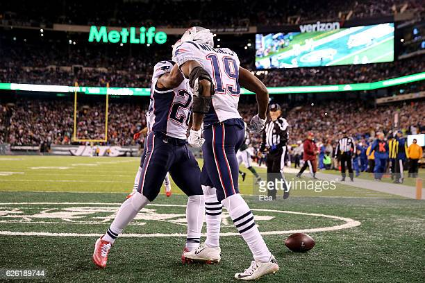 Malcolm Mitchell of the New England Patriots celenrates after scoring a touchdown against the New York Jets during the fourth quarter in the game at...