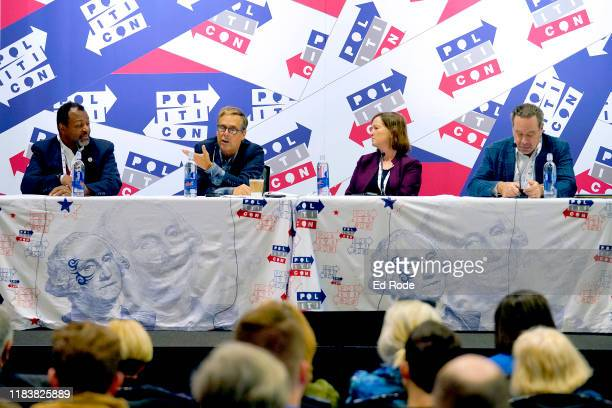 Malcolm Nance Harry Litman Barbara McQuade and David Frum speak onstage during day 2 of Politicon 2019 at Music City Center on October 27 2019 in...
