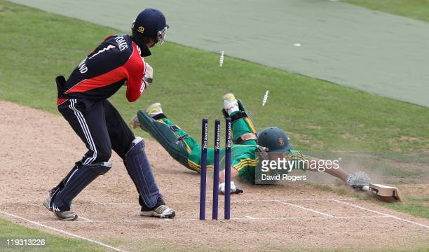 Malcolm Nofal of South Africa is run out after a direct hit from fielder Sam Kelsall during the one day International match between England under 19...