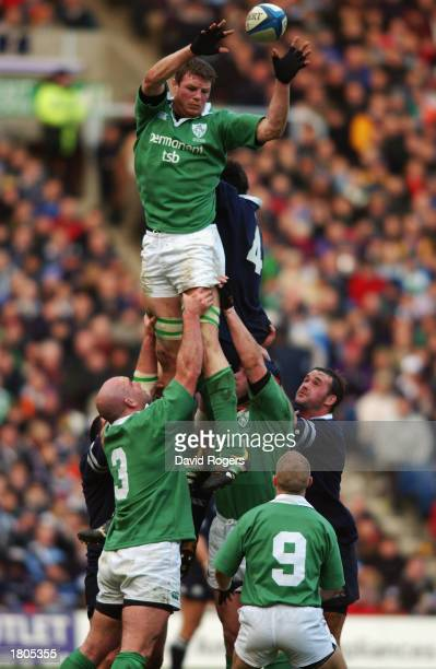 Malcolm O'Kelly of Ireland wins the line-out ball during the RBS Six Nations match between Scotland and Ireland held on February 16, 2003 at...