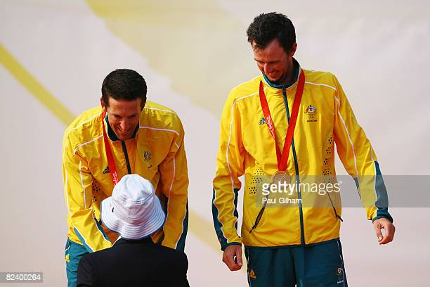 Malcolm Page and Nathan Wilmot of Australia receive their gold medals from HRH Princess Anne Princess Royal after victory in the Men's 470 class...