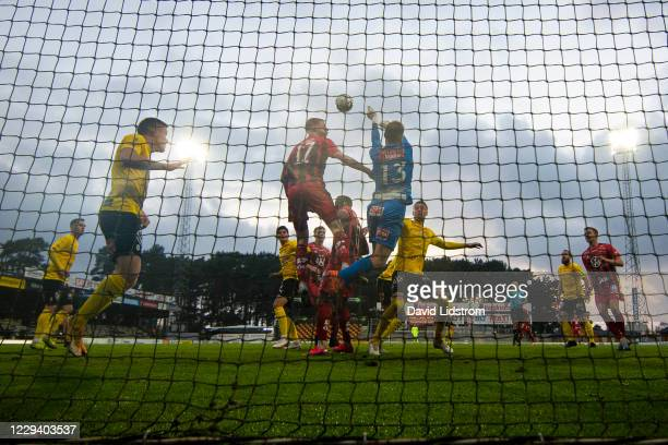 Malcolm Stolt of Ostersunds FK and Carl-Johan Eriksson of Mjallby AIF shoots a header during the Allsvenskan match between Mjallby AIF and Ostersunds...