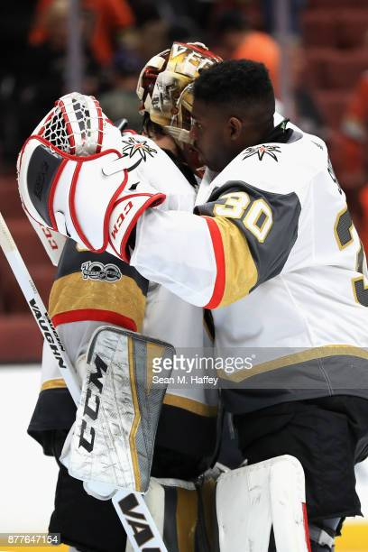 Malcolm Subban hugs Maxime Lagace of the Vegas Golden Knights after a game against the Anaheim Ducks at Honda Center on November 22 2017 in Anaheim...