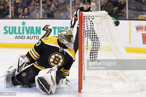 Malcolm Subban of the Boston Bruins allows a goal against Minnesota Wild during the second period at TD Garden on October 25 2016 in Boston...