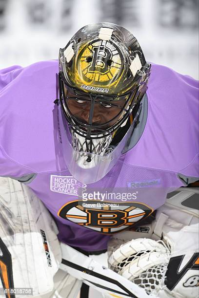 Malcolm Subban of the Boston Bruins during warm ups in a Hockey Fights Cancer jersey before the game against the Minnesota Wild at the TD Garden on...