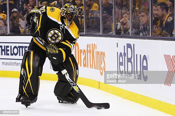 Malcolm Subban of the Boston Bruins looks to clear the puck during the second period against the Washington Capitals at TD Garden on September 22...