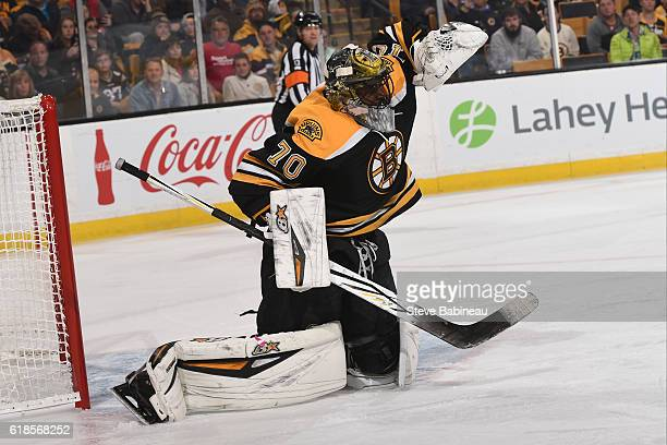 Malcolm Subban of the Boston Bruins makes a save against the Minnesota Wild at the TD Garden on October 25 2016 in Boston Massachusetts