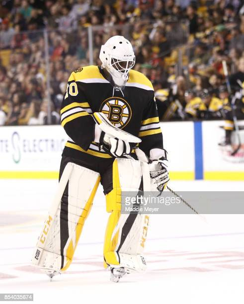 Malcolm Subban of the Boston Bruins skates against the Chicago Blackhawks during the first period at TD Garden on September 25 2017 in Boston...