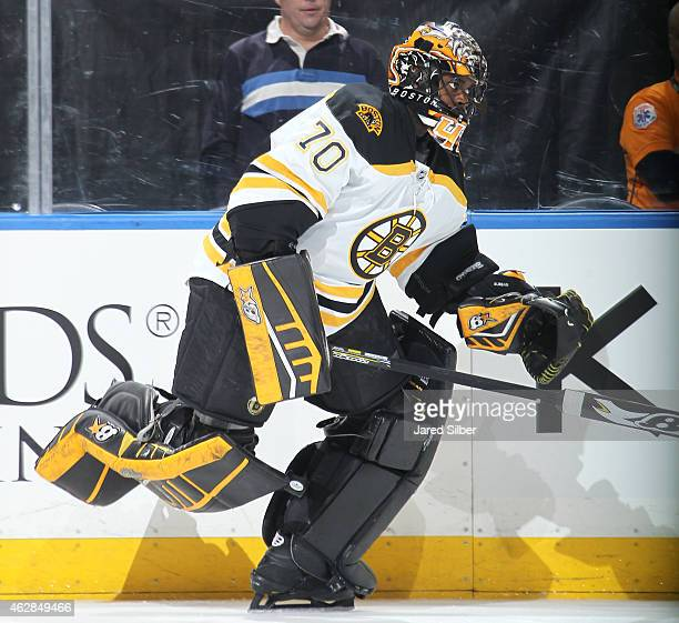Malcolm Subban of the Boston Bruins skates during pre game warmups before the game against the New York Rangers at Madison Square Garden on February...