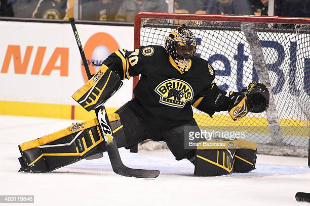 Malcolm Subban of the Boston Bruins skates during warm ups before the game against the Montreal Canadiens at the TD Garden on February 8 2015 in...