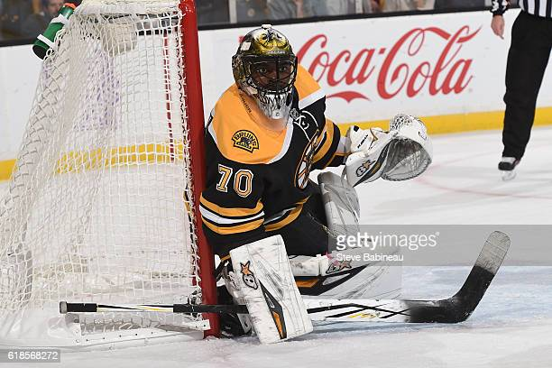 Malcolm Subban of the Boston Bruins watches the play against the Minnesota Wild at the TD Garden on October 25 2016 in Boston Massachusetts