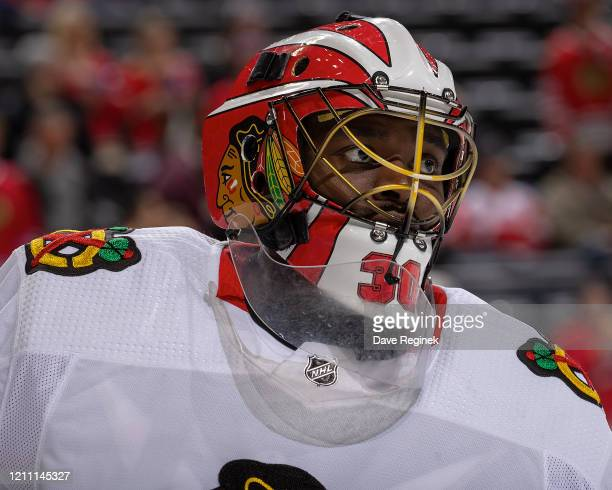 Malcolm Subban of the Chicago Blackhawks skates in warm-ups prior to an NHL game against the Detroit Red Wings at Little Caesars Arena on March 6,...
