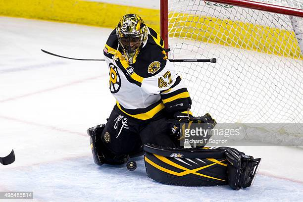 Malcolm Subban of the Providence Bruins makes a save during an American Hockey League game against the Springfield Falcons at the Dunkin' Donuts...