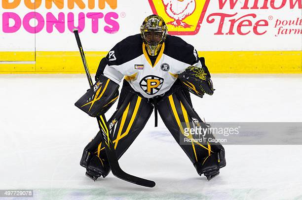 Malcolm Subban of the Providence Bruins stretches before an American Hockey League game against the Portland Pirates at the Dunkin' Donuts Center on...