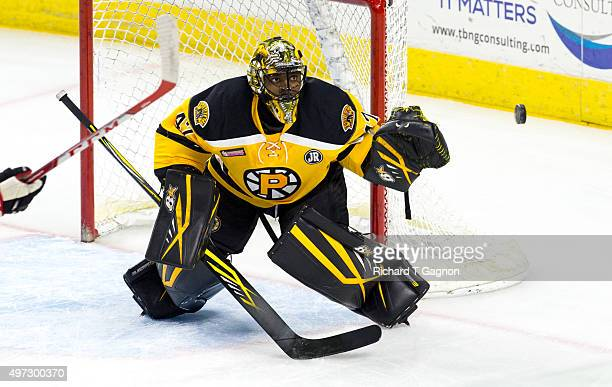 Malcolm Subban of the Providence Bruins watches the puck against the Portland Pirates during an American Hockey League game at the Dunkin' Donuts...