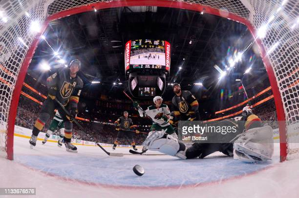 Malcolm Subban of the Vegas Golden Knights allows a goal by Kevin Fiala of the Minnesota Wild during the second period at TMobile Arena on March 29...