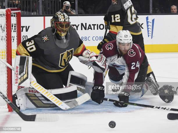Malcolm Subban of the Vegas Golden Knights blocks a shot by AJ Greer of the Colorado Avalanche in the first period of their preseason game at TMobile...