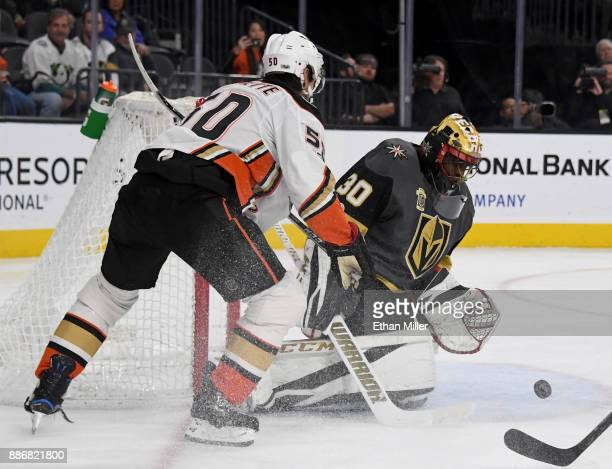 Malcolm Subban of the Vegas Golden Knights blocks a shot by Antoine Vermette of the Anaheim Ducks in the third period of their game at TMobile Arena...