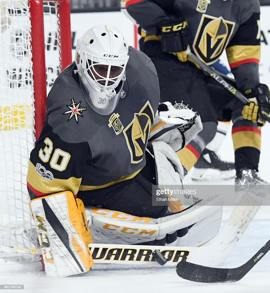 Malcolm Subban #30 of the Vegas Golden Knights blocks a shot by Evander Kane (not pictured) #9 of the Buffalo Sabres in the third period of their game at T-Mobile Arena on October 17, 2017 in Las Vegas, Nevada. The Golden Knights won 5-4 in overtime.
