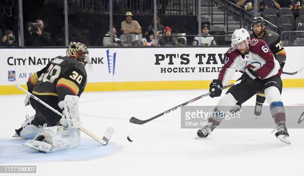 Malcolm Subban of the Vegas Golden Knights blocks a shot by Martin Kaut of the Colorado Avalanche in the third period of their preseason game at...