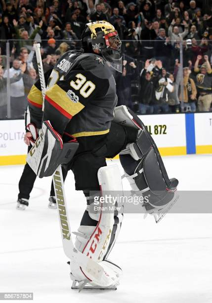 Malcolm Subban of the Vegas Golden Knights celebrates after defeating the Anaheim Ducks 43 in a shootout at TMobile Arena on December 5 2017 in Las...
