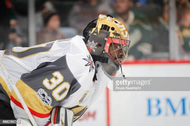 Malcolm Subban of the Vegas Golden Knights defends his goal against the Minnesota Wild during the game at the Xcel Energy Center on November 30 2017...