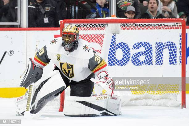 Malcolm Subban of the Vegas Golden Knights defends the net during the game against the Minnesota Wild on November 30 2017 at Xcel Energy Center in St...