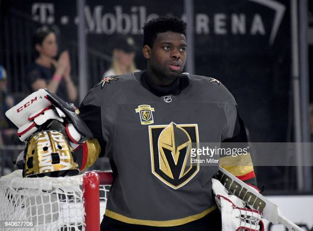 Malcolm Subban of the Vegas Golden Knights gets ready for a game against the St Louis Blues at TMobile Arena on March 30 2018 in Las Vegas Nevada The...