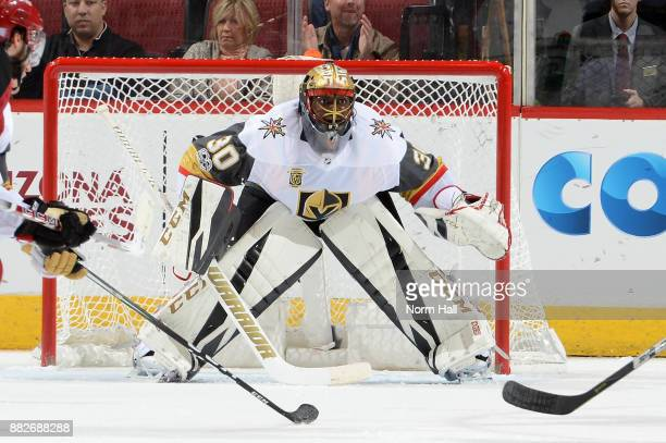 Malcolm Subban of the Vegas Golden Knights gets ready to make a save against the Arizona Coyotes at Gila River Arena on November 25 2017 in Glendale...
