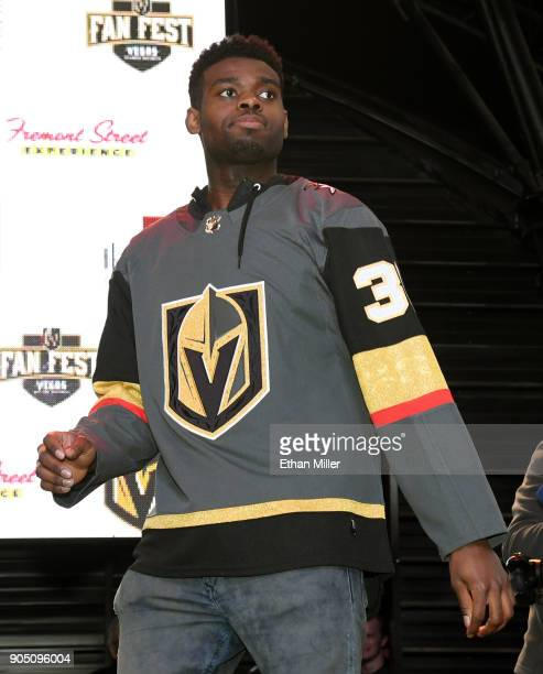 Malcolm Subban of the Vegas Golden Knights is introduced at the Vegas Golden Knights Fan Fest at the Fremont Street Experience on January 14 2018 in...