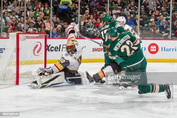 Malcolm Subban of the Vegas Golden Knights makes a save against Nino Niederreiter of the Minnesota Wild during the game at the Xcel Energy Center on...