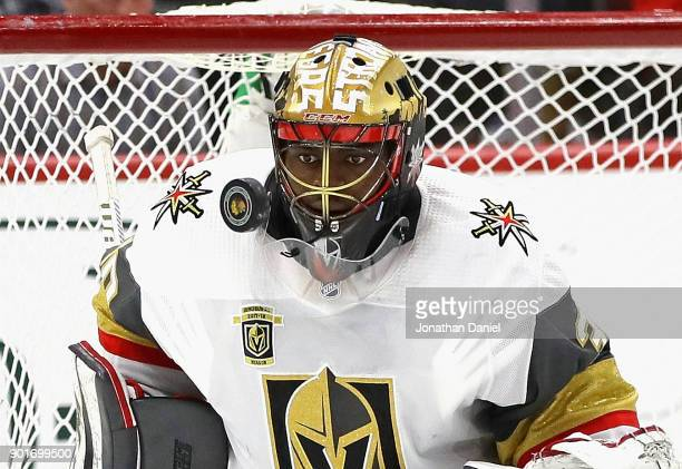 Malcolm Subban of the Vegas Golden Knights makes a save against the Chicago Blackhawks at the United Center on January 5 2018 in Chicago Illinois The...