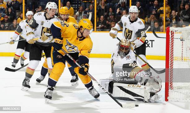 Malcolm Subban of the Vegas Golden Knights makes the save against Kevin Fiala of the Nashville Predators during an NHL game at Bridgestone Arena on...