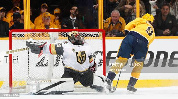 Malcolm Subban of the Vegas Golden Knights makes the save against Filip Forsberg of the Nashville Predators in a shootout during an NHL game at...
