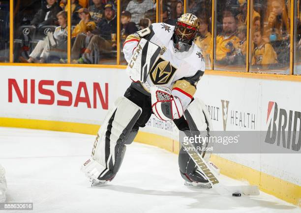Malcolm Subban of the Vegas Golden Knights plays the puck against the Nashville Predators during an NHL game at Bridgestone Arena on December 8 2017...