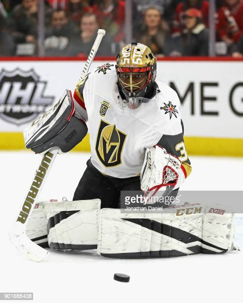 Malcolm Subban of the Vegas Golden Knights readies to make a save against the Chicago Blackhawks at the United Center on January 5 2018 in Chicago...