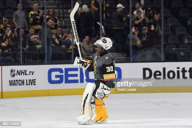 Malcolm Subban of the Vegas Golden Knights salutes the crowd after defeating the Boston Bruins at TMobile Arena on October 15 2017 in Las Vegas Nevada