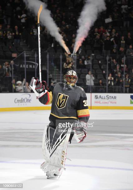 Malcolm Subban of the Vegas Golden Knights skates on the ice after being named the third star of the game following the team's 32 victory over the...