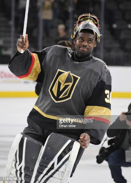 Malcolm Subban of the Vegas Golden Knights skates on the ice after being named the first star of the game following his first career shutout in the...