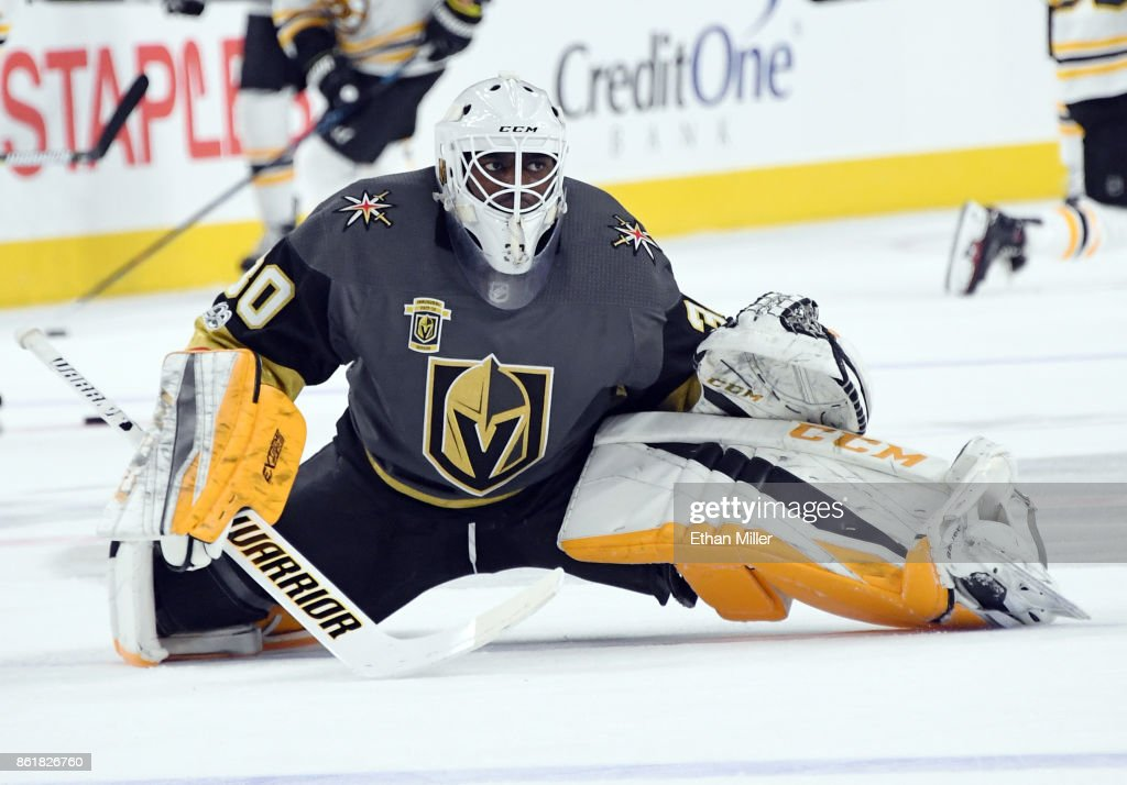 Malcolm Subban #30 of the Vegas Golden Knights stretches during warmups before the team's game against the Boston Bruins at T-Mobile Arena on October 15, 2017 in Las Vegas, Nevada. The Golden Knights won 3-1.