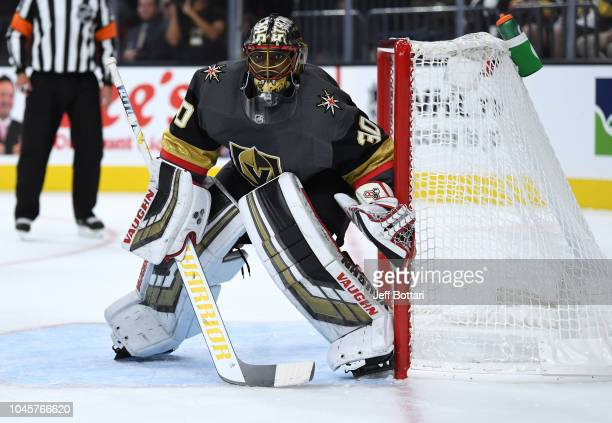 Malcolm Subban of the Vegas Golden Knights tends goal against the Philadelphia Flyers during a game at TMobile Arena on October 4 2018 in Las Vegas...