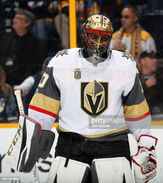 Malcolm Subban of the Vegas Golden Knights tends net against the Nashville Predators during an NHL game at Bridgestone Arena on December 8 2017 in...