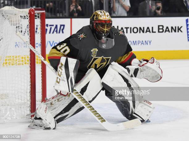 Malcolm Subban of the Vegas Golden Knights tends net against the Toronto Maple Leafs during the first period of their game at TMobile Arena on...